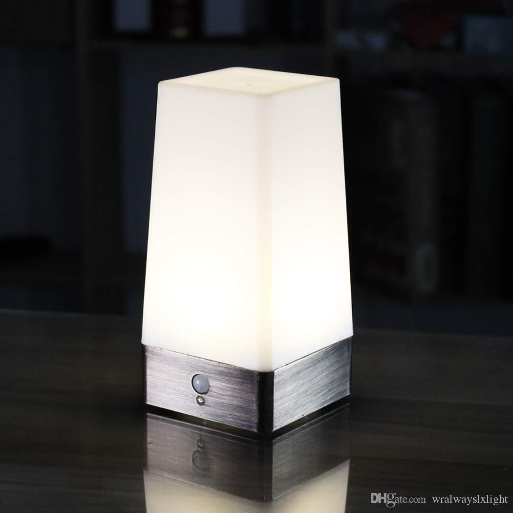 WRalwaysLX 3 Modes Battery Powered Small Table Lamp,Bedside Lamp Wireless PIR Motion Sensor LED Night Light,Sensitive Portable Moving Lamp