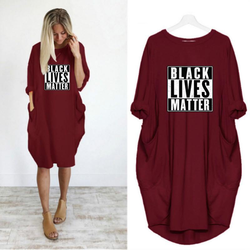 Maniche lunghe donne di estate Abbigliamento Moda Black Dress Abita Matter Womens nuovi vestiti alla moda di stampa della lettera girocollo partito casuale