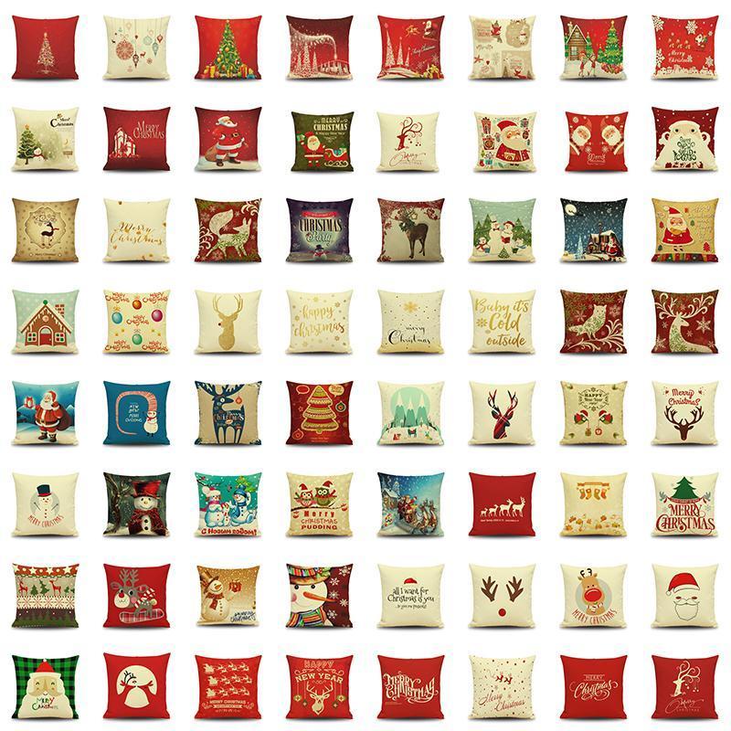 166 أنماط عيد الميلاد وسادة تغطي 45 × 45CM الكتان الأريكة الوسائد حالات رمي زينة عيد الميلاد رخيصة الوسائد زلة BH18078