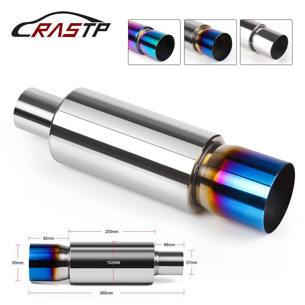 RASTP - Universal Auto Car Muffler Stainless Steel Silencer Exhaust Muffler End Tip Pipe 360mm Exhaust Tip Muffler RS-CR1008