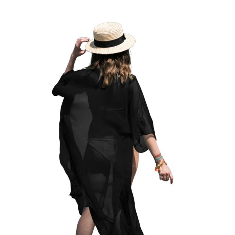 Womens Semi Sheer Summer Chiffon Sunscreen Kimono Cardigan Top Maxi Length Side Split Solid Color Bikini Cover Up Open Front Hal Soft And Light Blouses & Shirts
