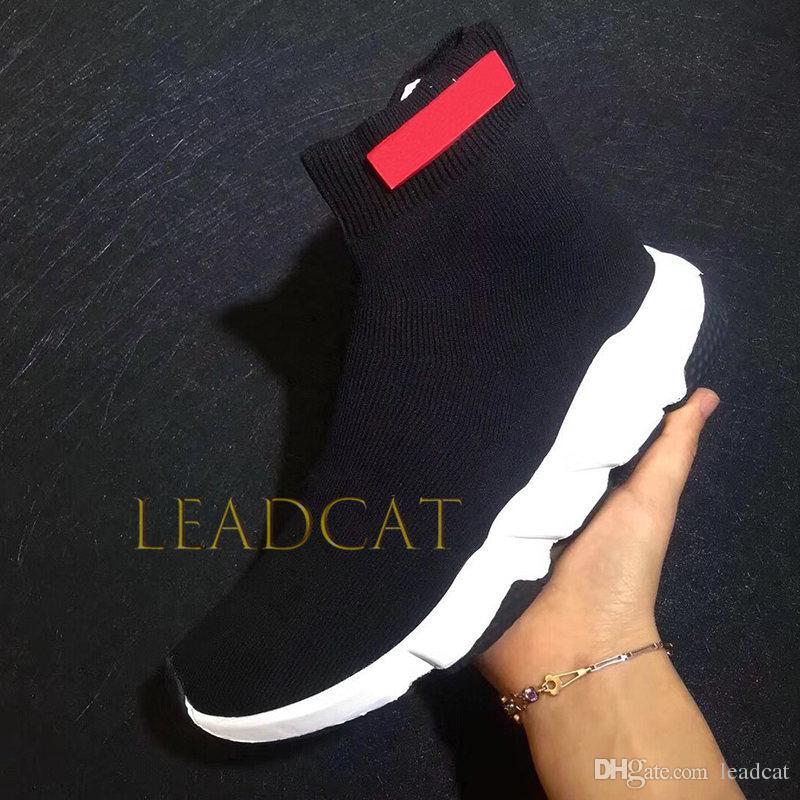 official order cute Acheter 2019 Balenciaga Chaussettes Designer De Sneakers Chaussures De Mode  Noir Blanc Rouge Paillettes Bleu Plat Hommes Femmes Formateurs Coureur ...
