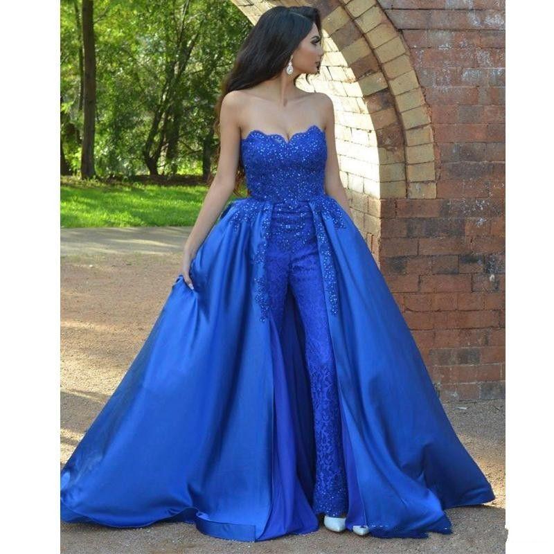 Royal Blue Jumpsuits Lace Prom Dresses Sweetheart Beaded Overskirt Appliqued Evening Gowns Sweep Train Evening Dress Vestidos De Fiesta