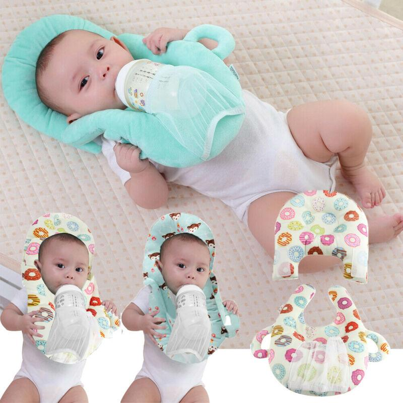 Baby Feeding Pillow Cushion with Bottle Holder Hand Free Portable Hollow Nursing Cushion Anti-Head Pillow