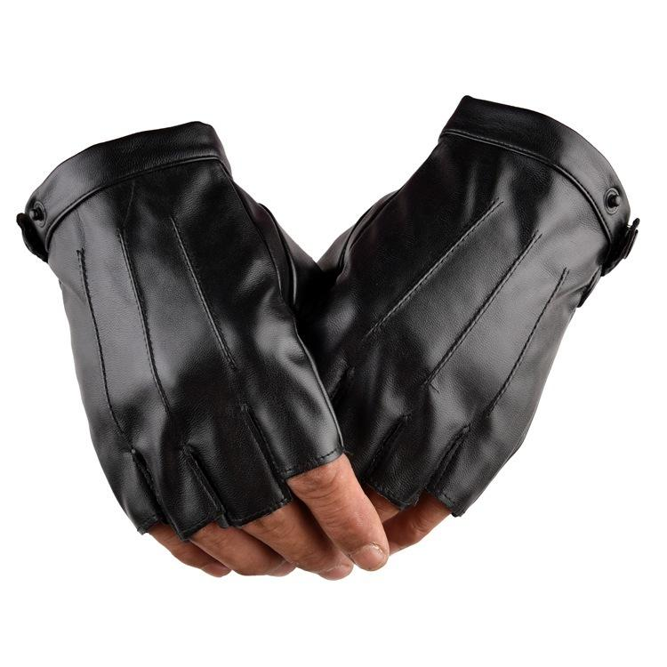 Outdoor Driving Motorcycle Bike Fingerless PU Gloves Half Finger Men Warm Gloves