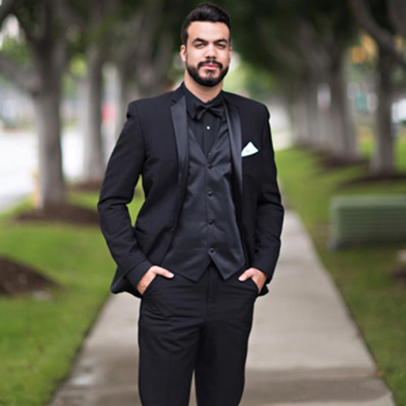 outlet online utterly stylish good quality New Black Slim Fit Wedding Suits Groom Tuxedos Jacket+Pants+Vest Bridegroom  Men Suits Prom Party Wear Blazer 250 Full Black Tuxedo Groom Attire For ...
