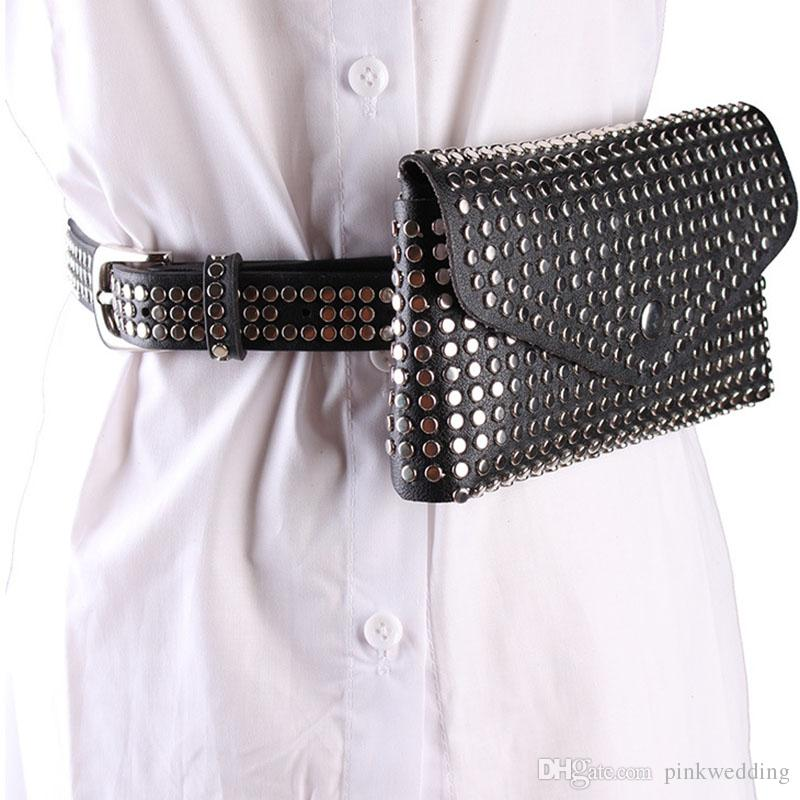 High Street Punk Style Lady Belts Creative Rivet Bolsas de cintura femenina Hip Hop Mini Bag Cinturones
