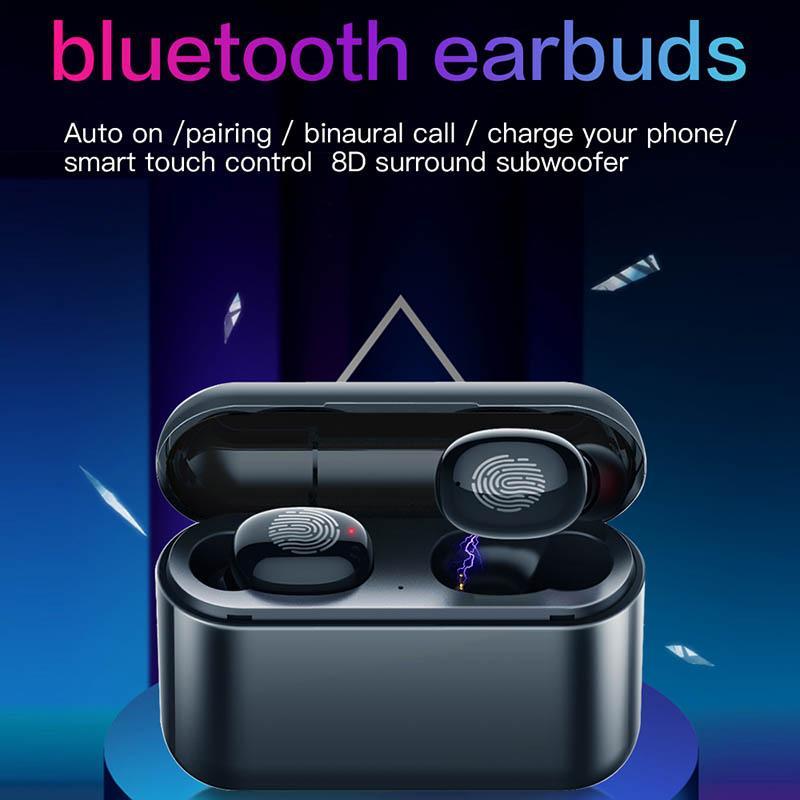 Auricolari Bluetooth sem fio Earbuds Casque Bluetooth 5.0 + EDR TWS Fone de ouvido Bluetooth 1500mAh carregamento earbuds fones de ouvido sem fio Caso