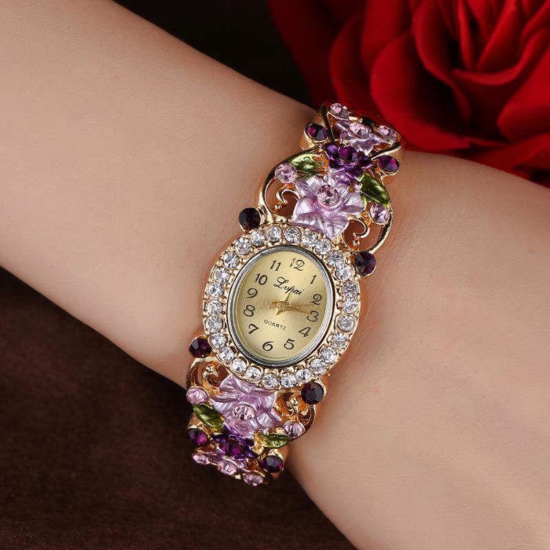 السيدات الماس ساعات الكوارتز المرأة اللباس ووتش خمر زهرة نمط ساعة اليد أزياء أنثى سوار ساعات