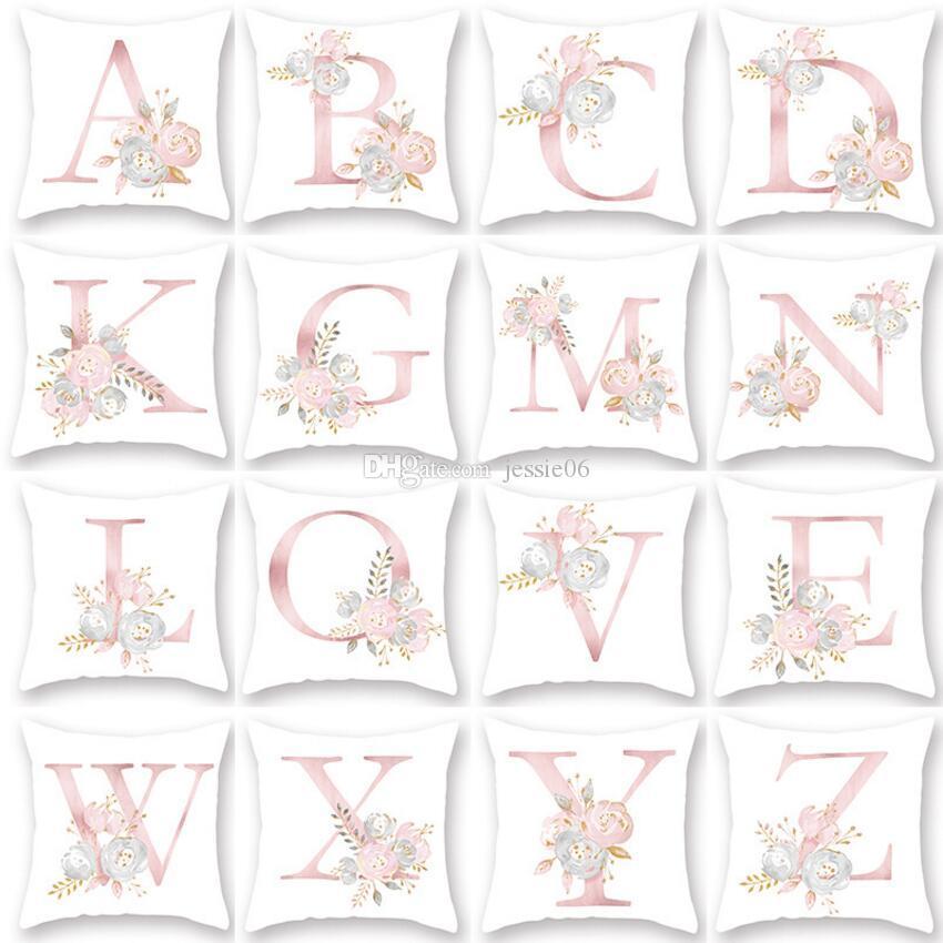 편지 베개 커버 45x45 센치 메터 홈 제품 꽃 베개 핑크 편지 쿠션 베개 자동차 소파 허리 폭발