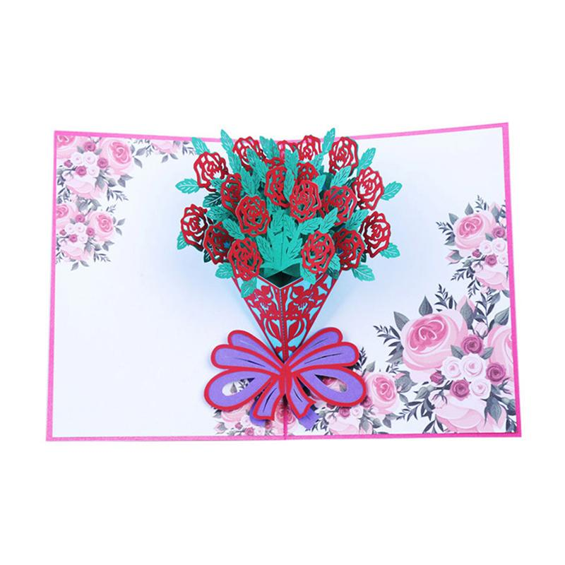 Mother's Day Card Gift Creative 3D Rose Lily Flower Greeting Card Fashion Handmade Holding Flowers Greeting Card