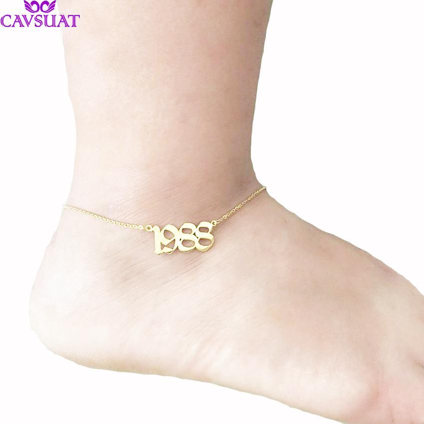 Personalizzato inglese antico numero cavigliera gioielli piede gioielli in oro rosa colore nome personalizzato data di nozze cavigliere per le donne uomini regalo