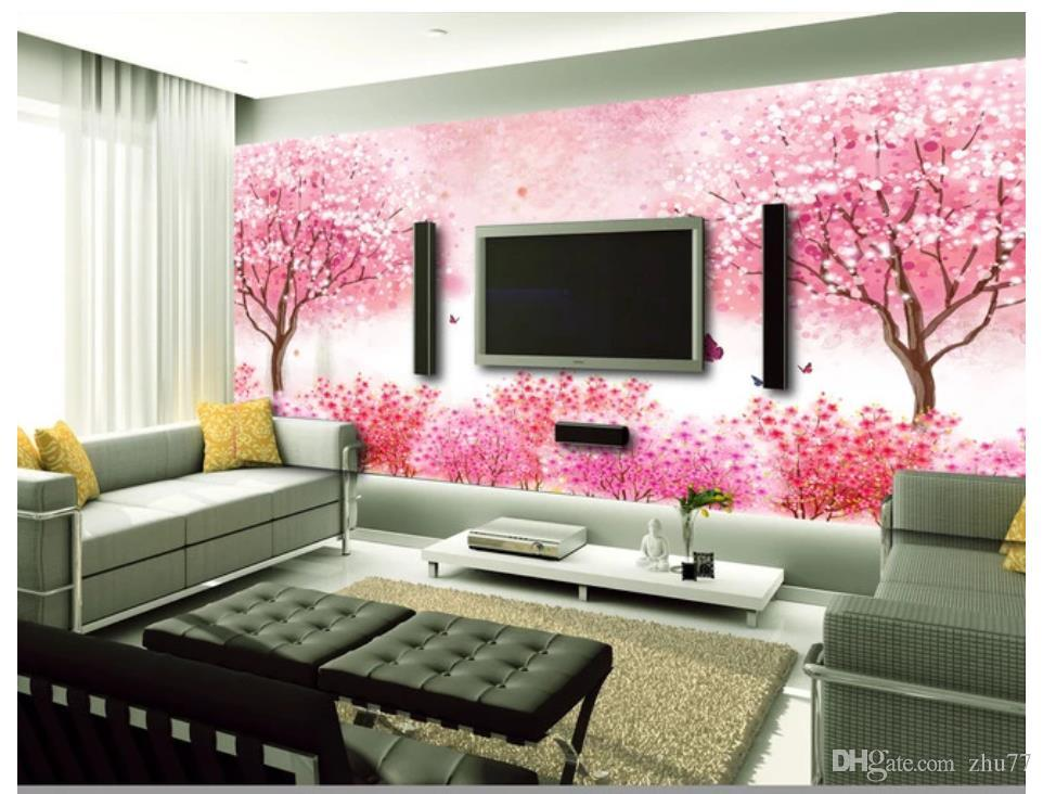 Costumbre 3d papel tapiz mural fotográfico decoración para el hogar romántica flor de cerezo salón sofá Pink TV pared del fondo Papel de parede