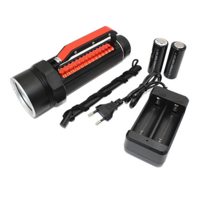 Neue Ultra Violet Tauchen Taschenlampe 4 6 UV-LED Wasserdicht 395nm 1800 Lumen Lila-Licht-Fackel Linterna mit 26650 Akku-Ladegerät