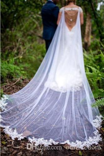 2a313894de ... Elegant Bridal Cape Lace Edge Wedding Cloak Veil White Ivory Long Tulle  Shawl Lady Shrug ...