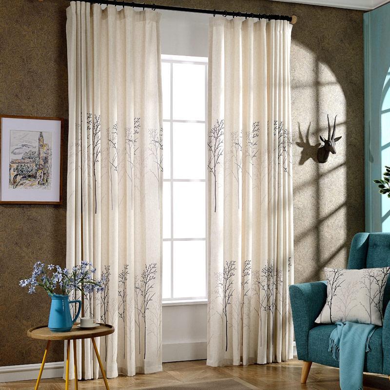 트리 디자인 리넨 인쇄 커튼 거실 장식 현대 커튼 침실 창 커튼