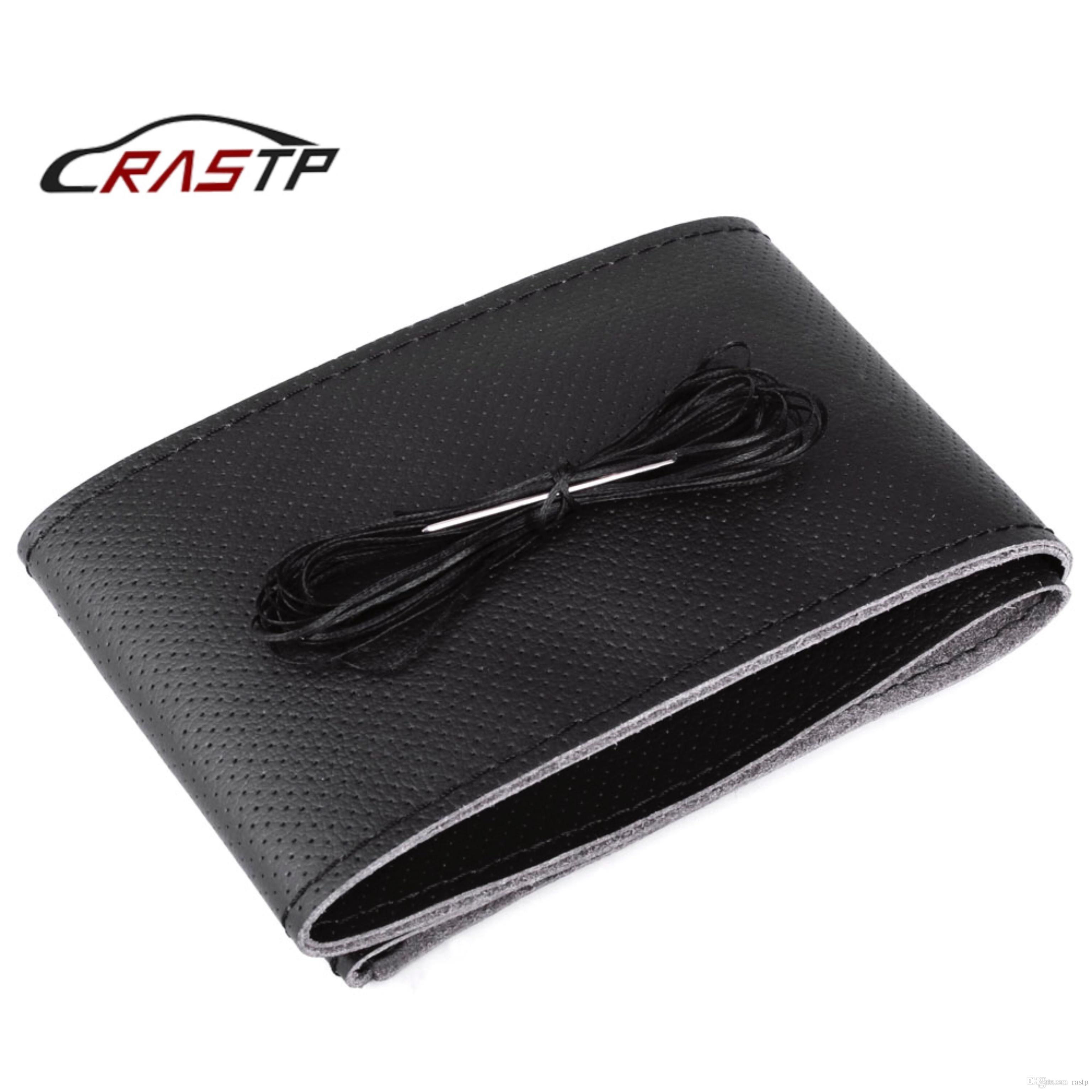 RASTP-Auto Accesorios para el coche cubierta del volante del cuero de la fibra micro 38cm DIY de la trenza en el volante negro RS-STW014-Hole