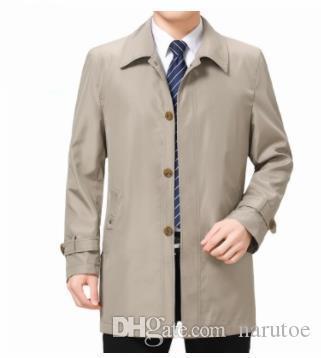 Autunno di affari del Mens Designer Trench risvolto collo a maniche lunghe abbigliamento casual di mezza età e anziani Cappotti