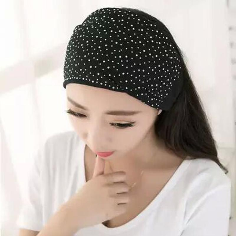 Women Elasticity Head Wrap Soft Hair Band Rhinestones Headwear Turban Twist Headbands Sports Headdress Accessories Tiara