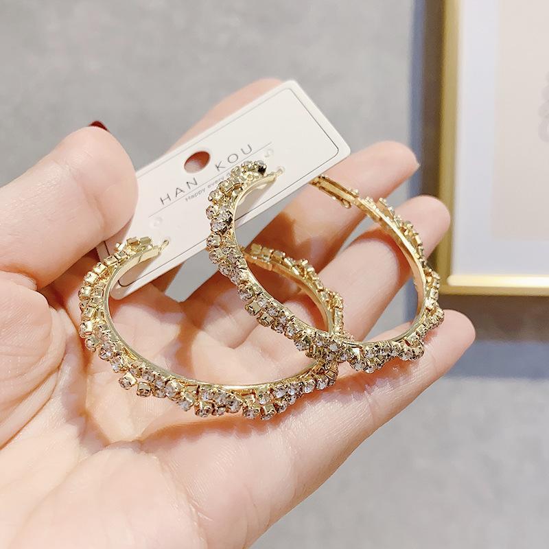2020 lucido di modo di cristallo dell'oro di colore del metallo del cerchio orecchini per le donne coreane elegante Dichiarazione Big rotondo dei monili orecchini del partito