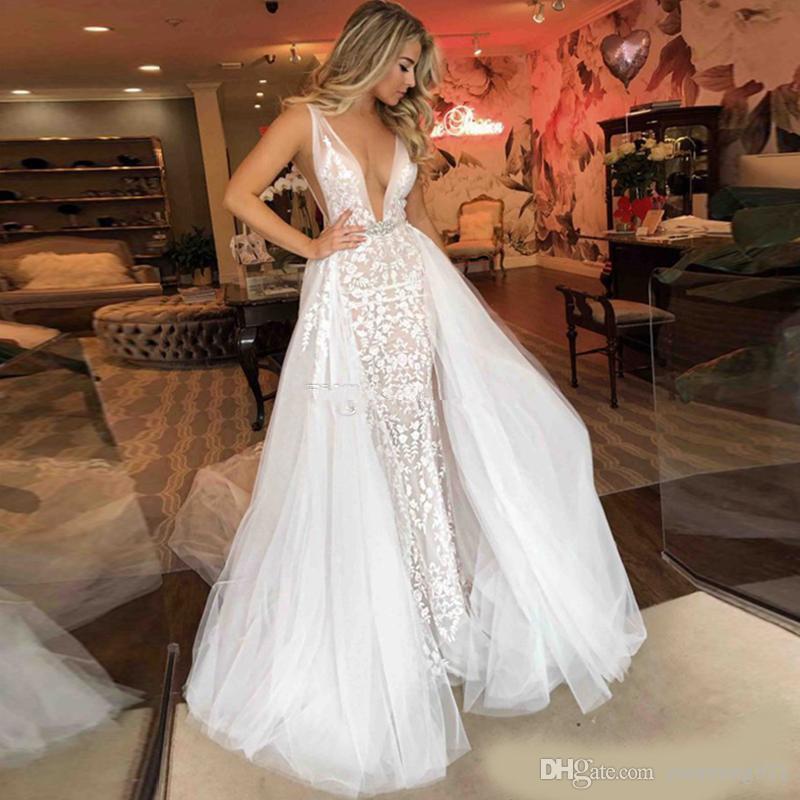 Abito da sposa sexy 2019 treno lungo robe de soiree con scollo a V di cristallo Sash di alta qualità da sposa abiti Backless staccabile abito da sposa Train