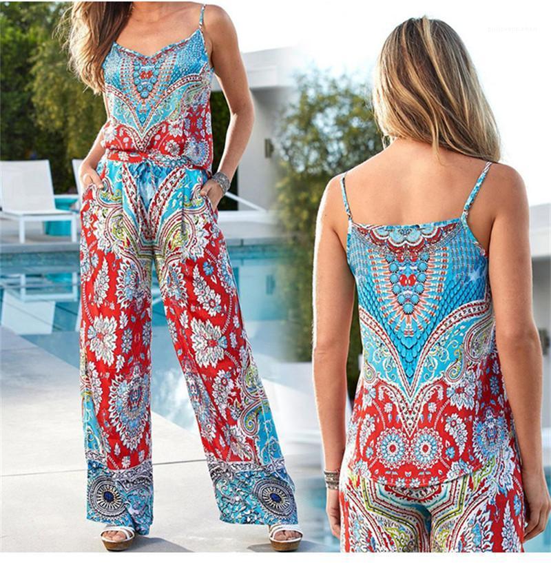 Rompers Verão calças compridas Suits Casual Designer soltos Womens Macacões Com Belt Floral Spaghetti Strap mangas Womens