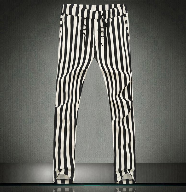 메트로 섹슈얼 검은 색과 흰색 줄무늬 하렘 바지 남성 하렘 힙합 댄스 바지 위장 패션 섹시한 남성 얼룩말