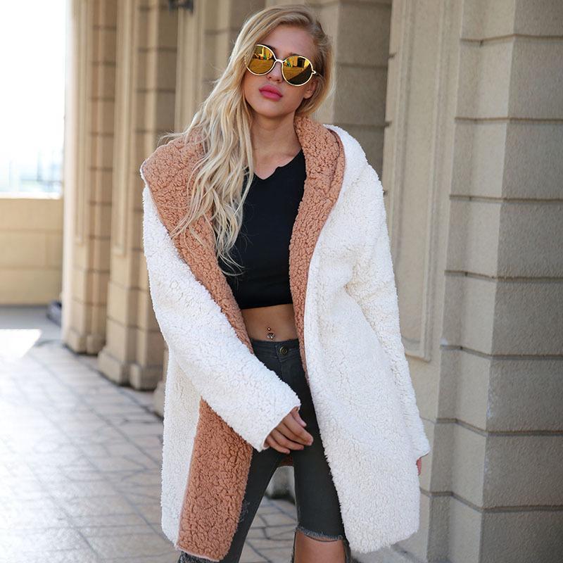 2019 New Women's Lambswool Coat Reversible Hooded Faux Fur Long Jacket Coat Elegant Female Hairy Overcoat Outwear Plus Size XXXL T200104