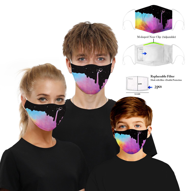 Designer maschera viso Maschere viso di modo di stampa Elemento Smorfia 3D Animal riutilizzabile protezione PM2.5 Filtrare 5 strati lavabile Hiigh qualità
