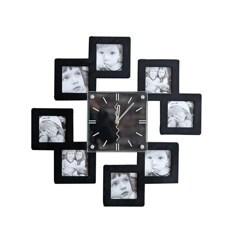 الأوروبي الحد الأدنى الأبيض الجمع بين إطار الصورة ساعة الحائط الحرفية على مدار الساعة الإبداعية الديكور المنزلي متجر للجدار ديكور