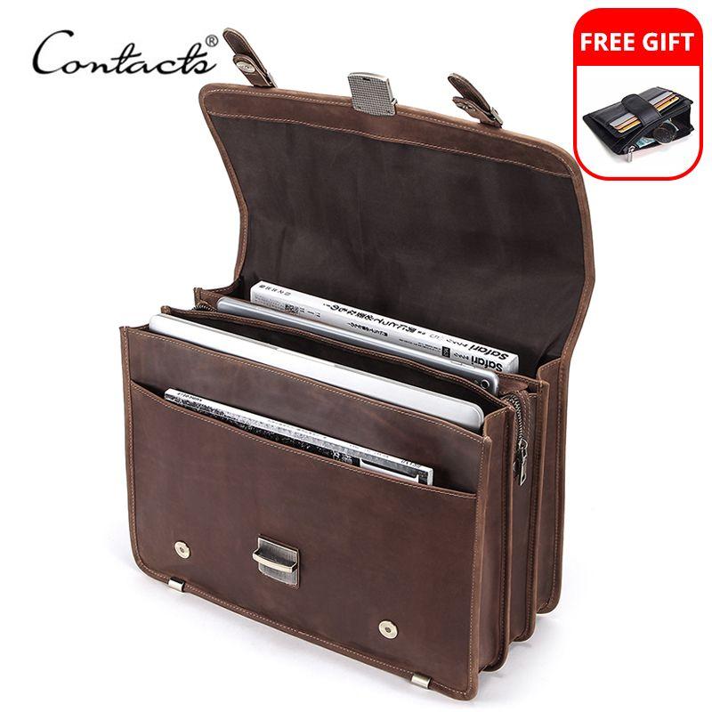 "CONTACT'S Men's Bag Crazy Horse Leather Briefcase Men Business Bag For 14"" Laptop Quality Leather Shoulder Messenger Bags Male"