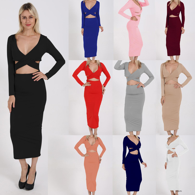 delle donne stilista dresssexy V-collo del vestito dell'anca manica lunga cavo 10 colorsIBLGH