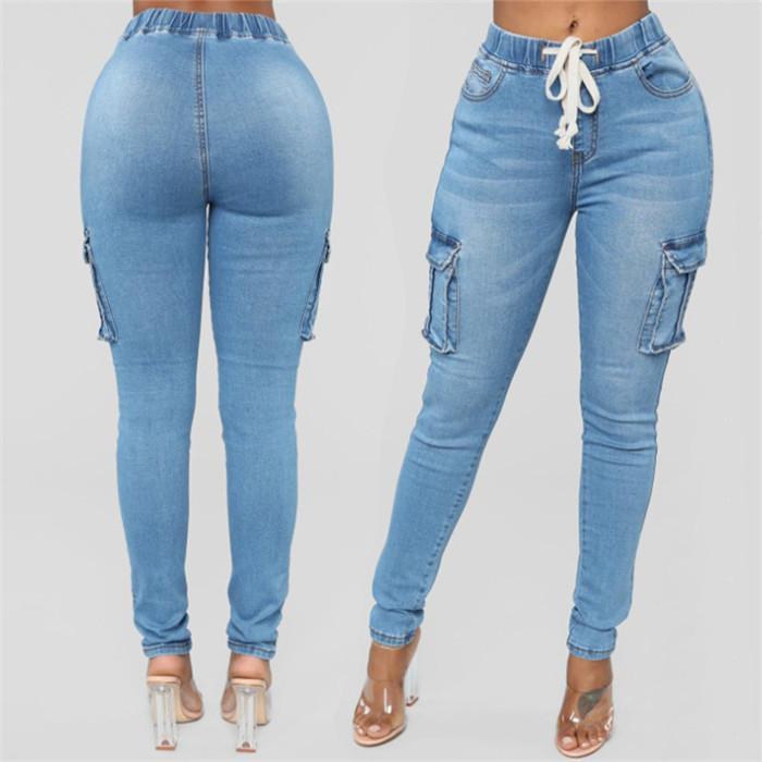 سروال 5XL المرأة قلم رصاص جينز الصيف ارتفاع الخصر أزرق فاتح نحيل الجينز السيدات مرونة الخصر طويل