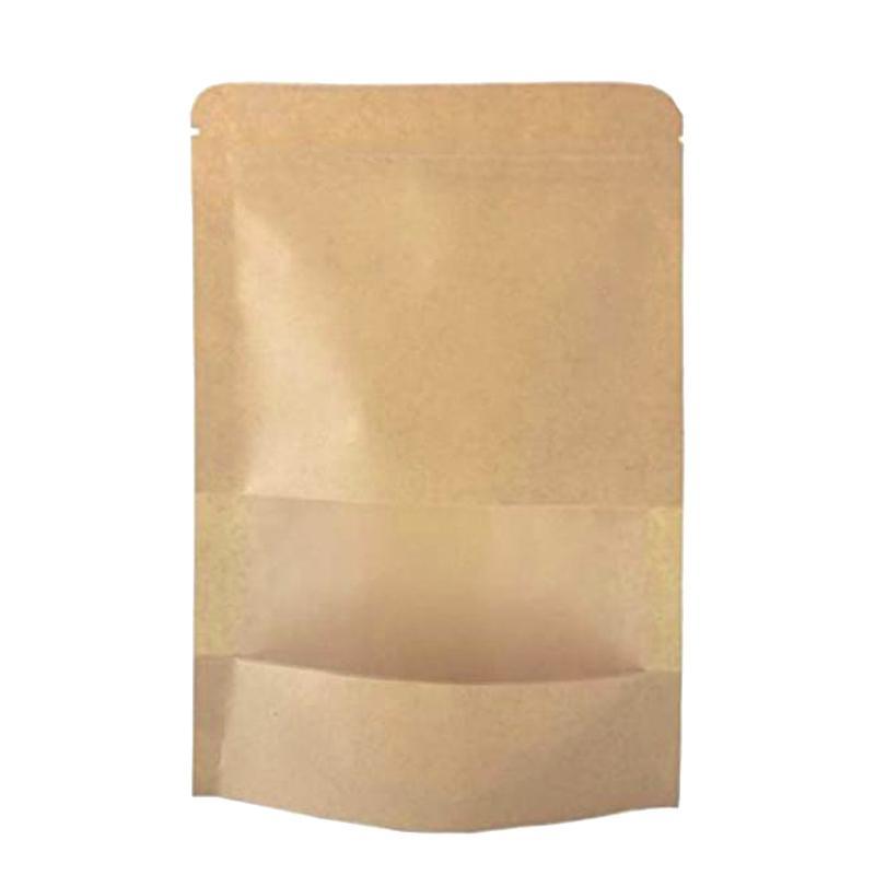 Kraft Stand Up Bags bolsas com Notch e Janela Matte, Saco, 6.3X8.6 Polegadas, 5.7Oz, embalagem de 50