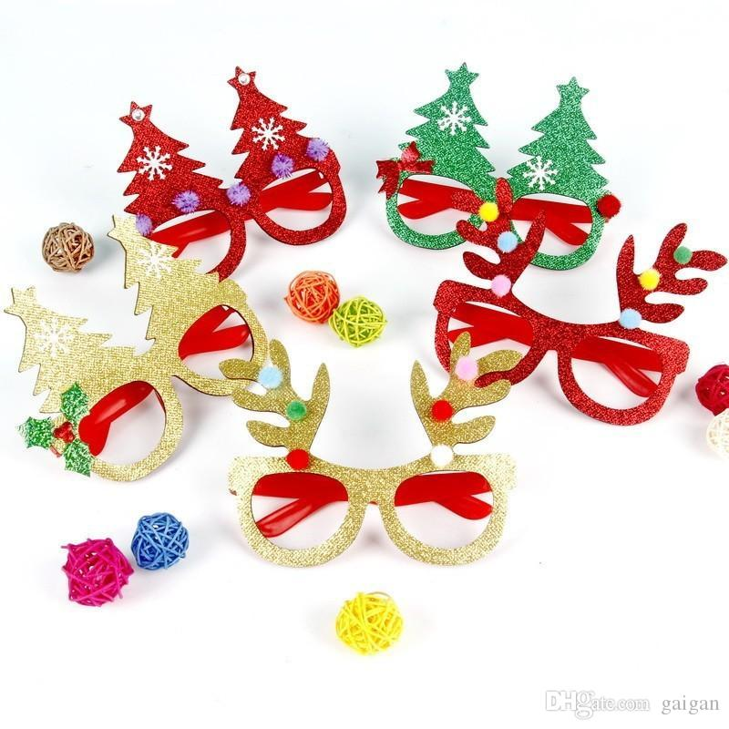 Creative Christmas Theme Children Glasses Paper Multi Design Eyeglass For Party Festival Decorative Mask Props
