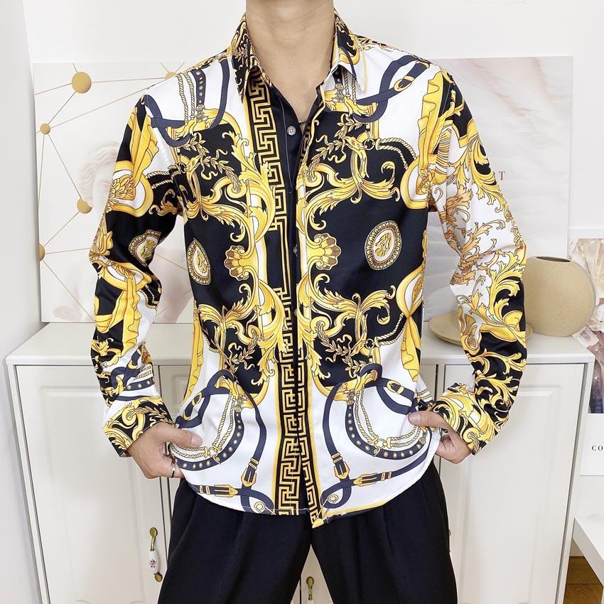 2020 nouveaux hommes de Chemises Casual Medusa or imprimé floral Robe Chemise homme Patterns Slim Fit Chemises hommes Fashion Business Shirts Vêtements M-2XL