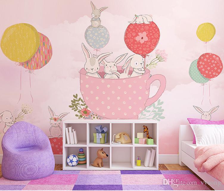 Cartoon Hot Air Balloon Wallpaper Mural 3d Wall Photo Mural for Kids Room Sofa Kindergarten Background 3d Rabbit wall paper Pink