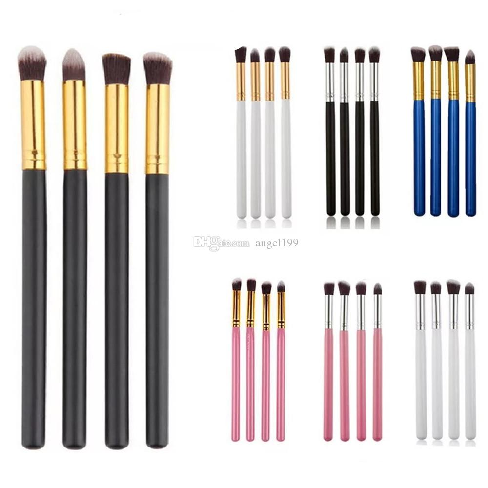 The most popular 4pcs Makeup Brushes For Eye Makeup Tool Kit Synthetic Hair Eyeshadow Brushes Set + Round Tube Wood Handle