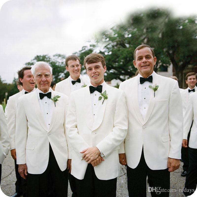 Custom Made Branco Groom Attire Tuxedo Homens ternos para Costume Blazer Wedding Groomsmen Outfit Terno Masculino melhor homem Homme Partido Prom 2piece