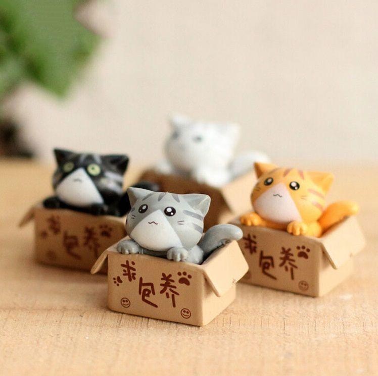 4 Adet / grup Sevimli Arayan Besleyici Peynir Kedi Karikatür Anime Action Figure Oyuncaklar DIY Model Çocuk Çocuk Noel Oyuncaklar Kızlar Için hediyeler