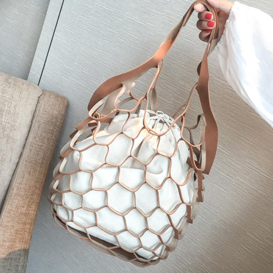 Hollow Out Mesh Design Women Handbags Net Canvas Composite Bag Ladies Drawstring Tote Famous Brands Casual Beach Bags Summer New Y19052801