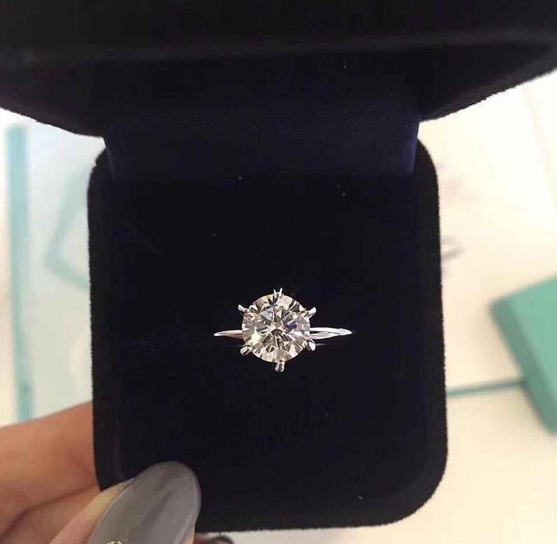 925 gümüş 1-3 karat elmas lüks tasarımcı halkaları LOGO ve Orijinal kutu womens ile bague altı pençe düğün nişan hediyesi evlenmek