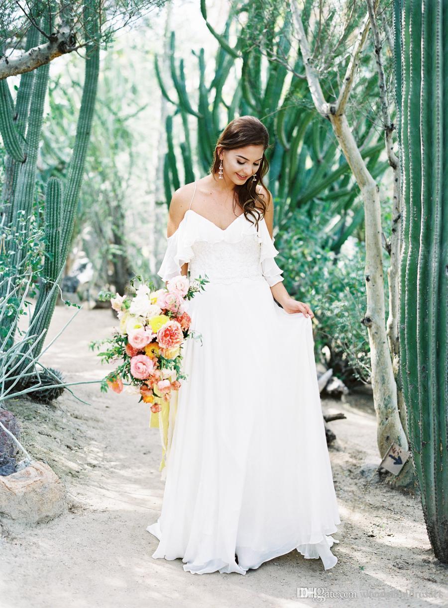2017 Vestido De Noiva White Beach Abiti da sposa senza spalline Sweetheart Chiffon Piano Lunghezza Boho Abiti da sposa