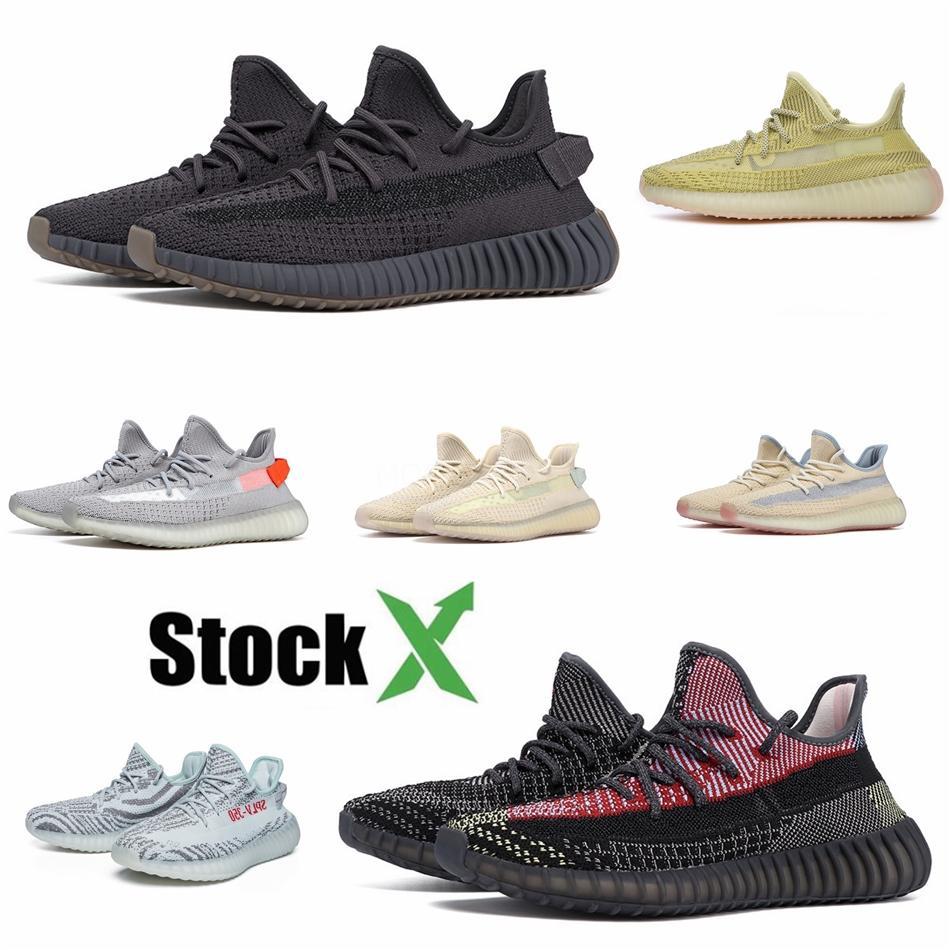 Con la scatola Kanye West Cloud White Citrin Sneakers Designer Bred nero riflettente Zebra Green Glow Lundmark Uomo Donna Sport scarpa da corsa # QA853