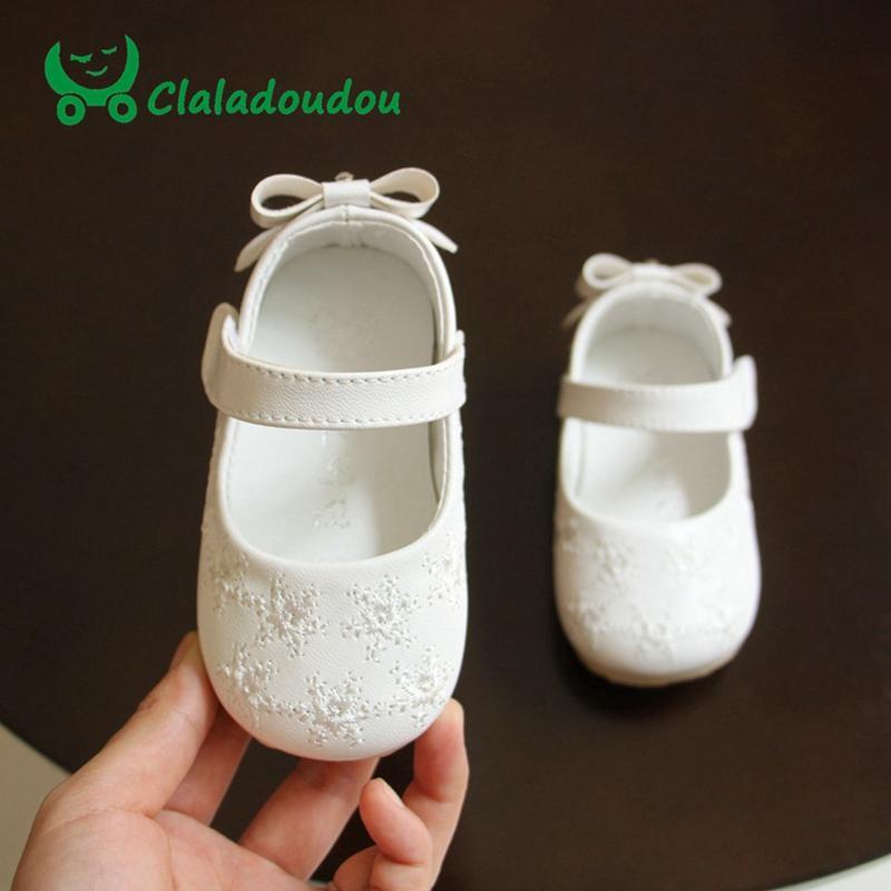 طفل الفتيات أحذية لينة أسفل BOWKNOT لطيف الأميرة اللباس حزب أحذية بو الجلود الكورية أطفال فتاة الأحذية نعل 11.5-13.5CM