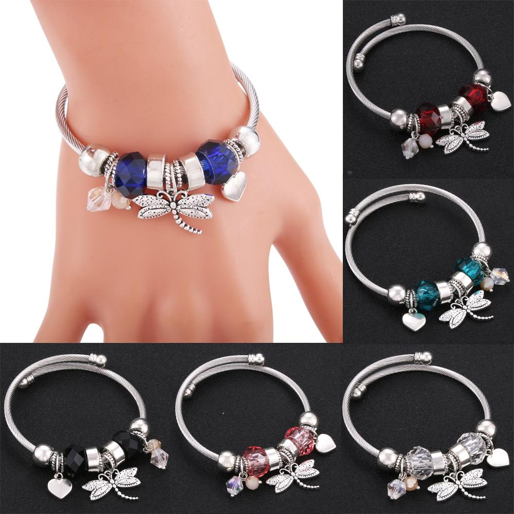 Dragonfly love Trendy Elastic metal beading Bracelet Jewelry 6 Colors Silver Snake Chain Bangles Beaded Bracelet Fit Jewelry