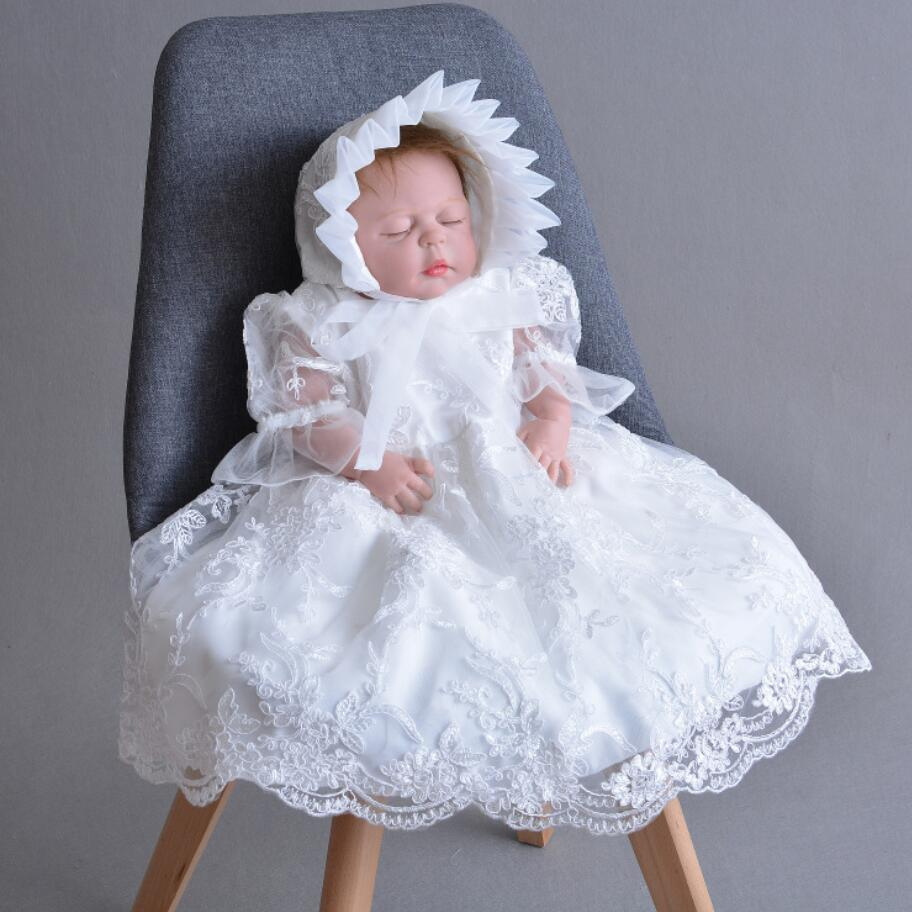 Baby Girl Long White Embroidered Satin Ribbon Tulle Christening Dress with Hat