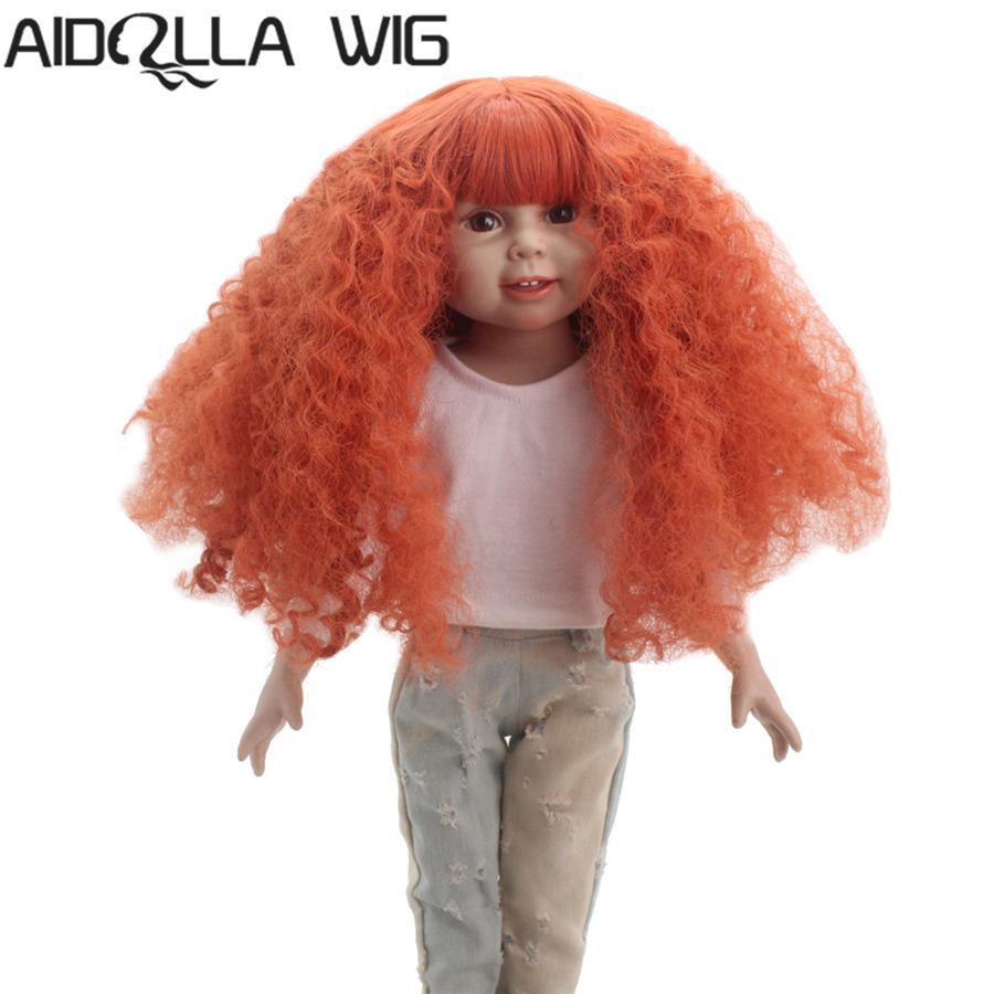 Resistente al calor naranja larga longitud zanahoria afro ondulado muñeca pelucas para 18 '' altura muñeca americana con 10-11 pulgadas cabeza para regalo de niña