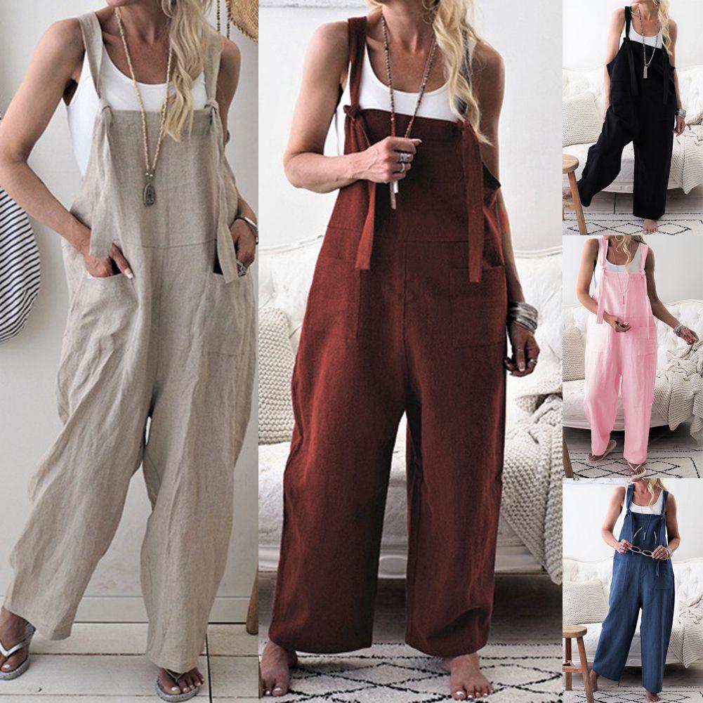 Nouvelle Mode 2019 D'été Femmes Lady Clubwear Lâche Bodys Coton Lin Playsuit Partie Combinaison Barboteuse Pantalon Long Dans l'ensemble