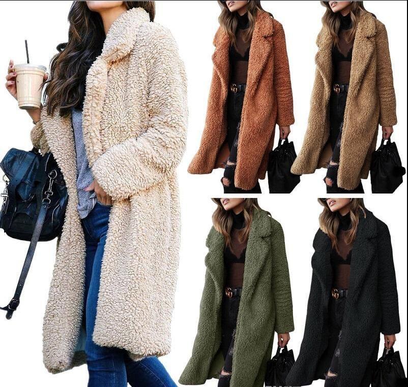 Nueva piel de imitación de la capa larga caliente de las mujeres de moda con capucha de invierno abrigo de felpa superior de la solapa de la chaqueta de las ropas
